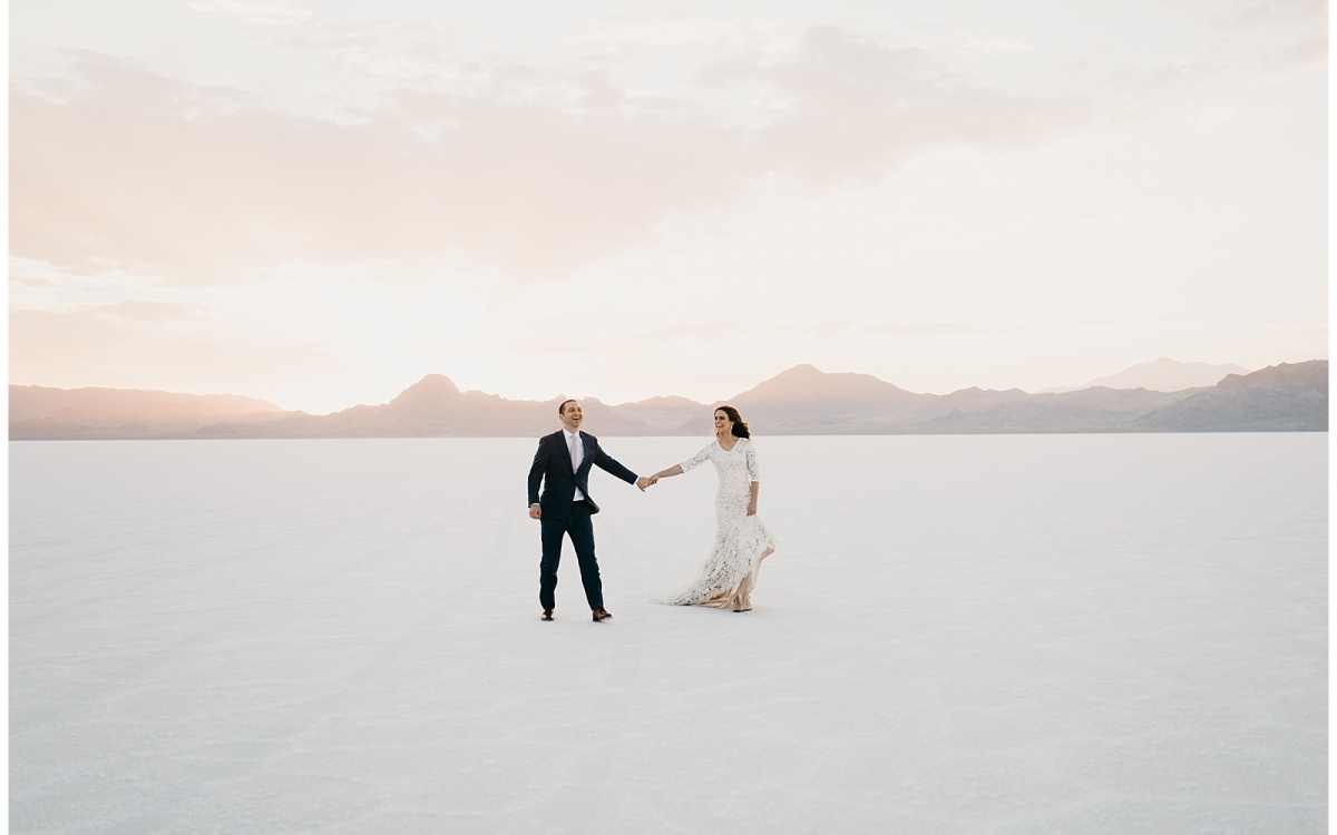 Shaye and Salah, First Look and Wedding Bridals at the Bonneville Salt Flats