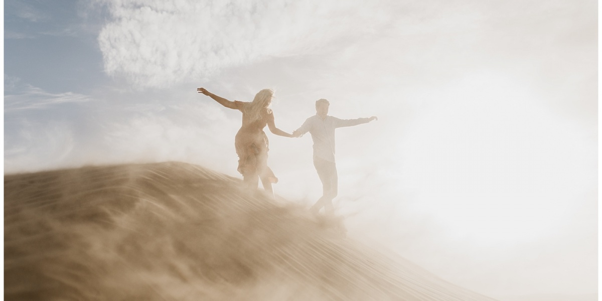 Christine and Jon, Windy Engagements at the Sand Dunes