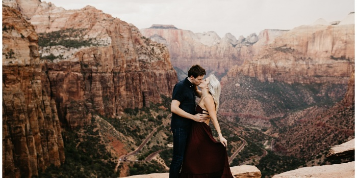 Megan and Andrew, Adventurous Engagement Session in Zion National Park