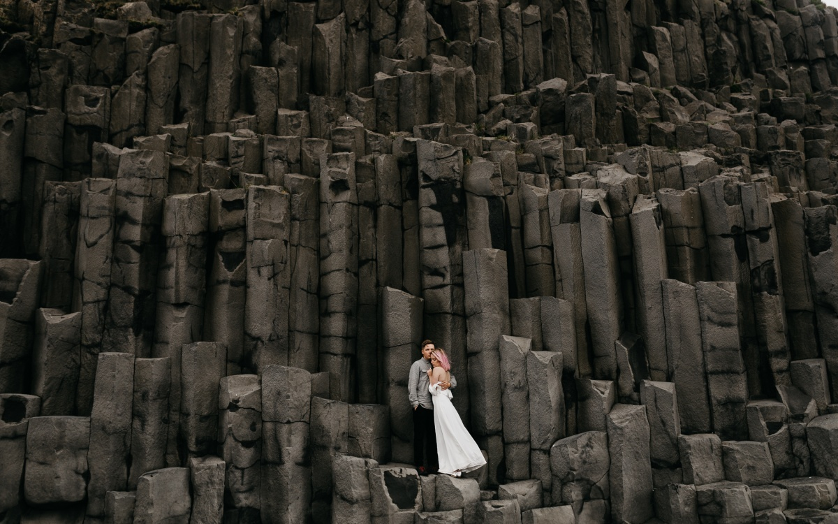 Iceland Elopement at Skógafoss Waterfall + Black Sand Beach