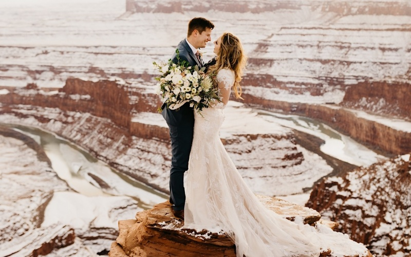 Snowy Wedding Bridals in Moab, Utah | Austin + Emily