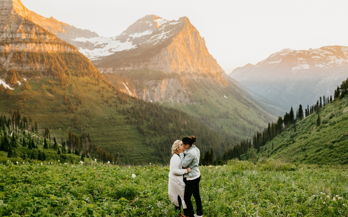 Glacier National Park Engagements | Adventure Engagement Session | Ashley + Roki