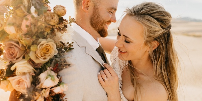 Intimate Elopement at Little Sahara Sand Dunes + Bear Lake, Utah | Keeley + Dylan